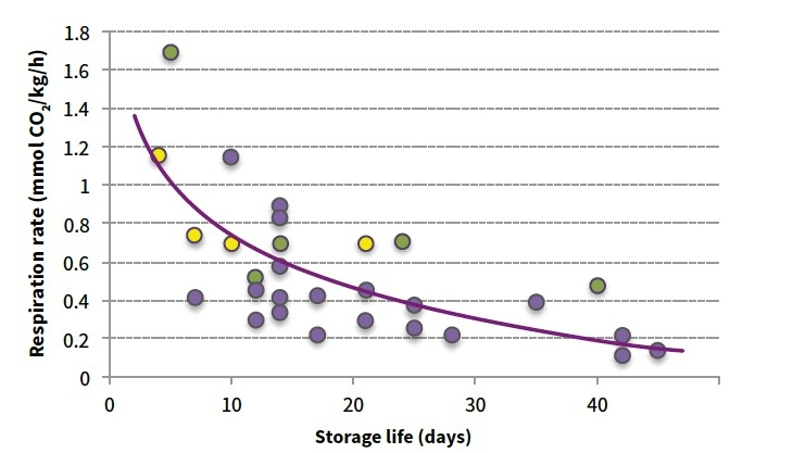 Respiration rate and storage life of broccoli (green), sweet corn (yellow) and a number of other different vegetables. Data extracted from Thompson 1996, AUF Manual, UC Davis www.ucdavis.edu.au)